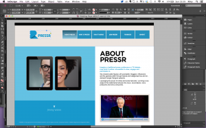 Pressr Homepage in InDesign