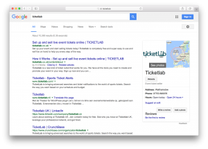 Ticketlab's Google search results
